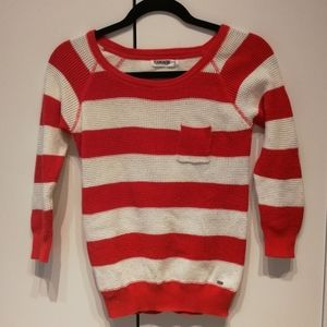 GARAGE Red and white striped waffle top 3/4 sleeves Crew neck XS